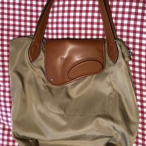 POLO RALPH LAUREN Nylon Leather-Handled Bag Beige